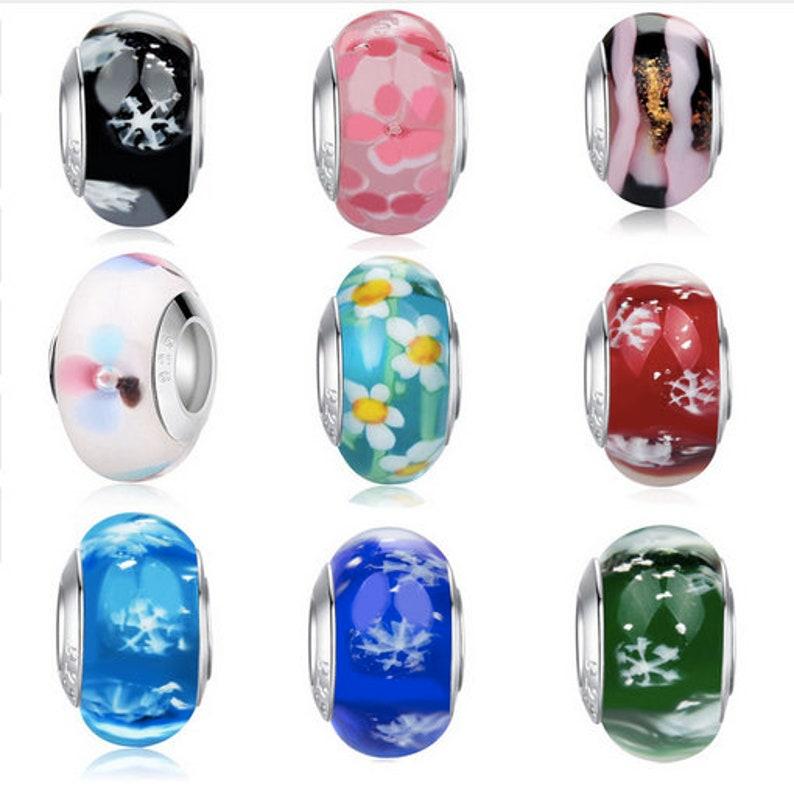 e7b917ba7 European Murano Glass Pink Flower Beads Charm Fits Pandora | Etsy