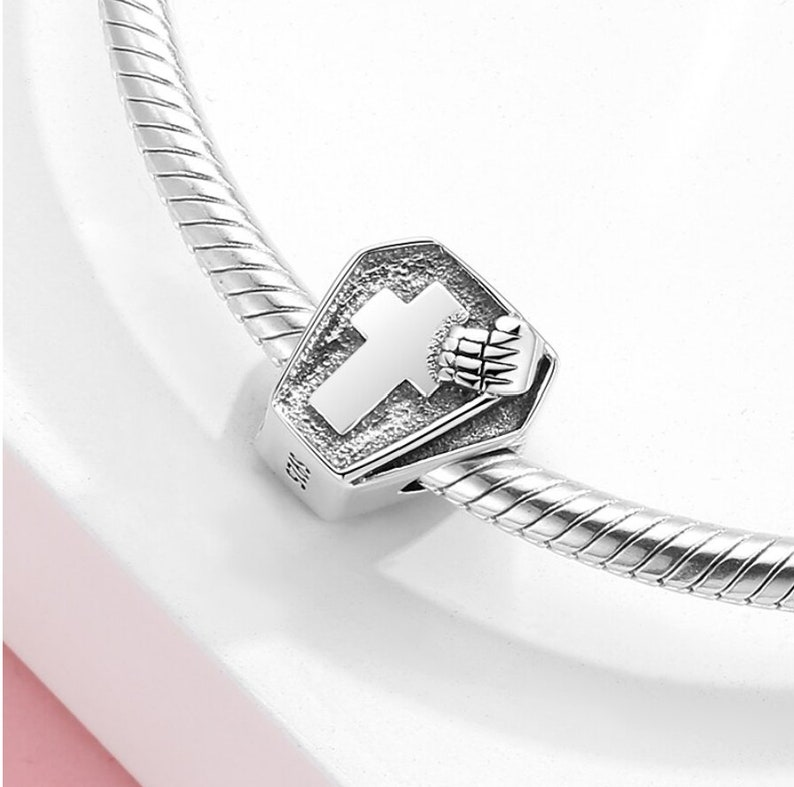 100/% Authentic 925 Sterling Silver Cross Sign Hope Coffin Bead Charm Pendant fit Charm Bracelet Jewelry