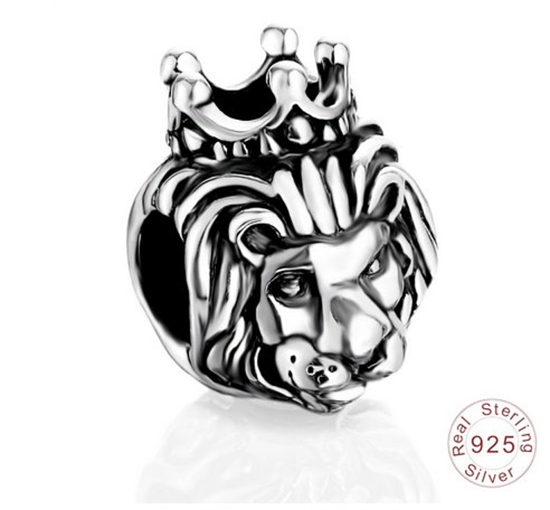 0ba964cc3 100% Authentic 925 Sterling Silver King Of Lion Crown Charm | Etsy