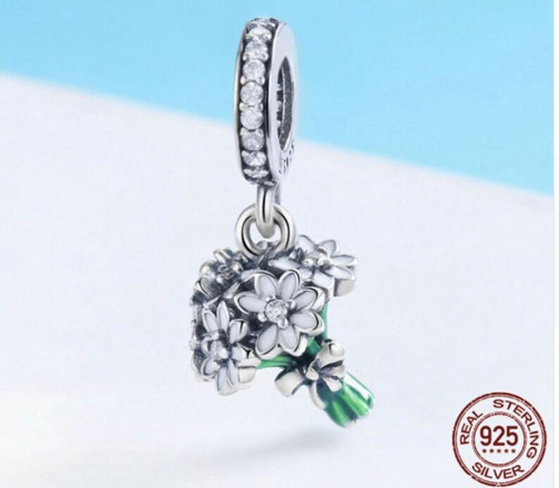 100/% Genuine 925 Sterling Silver Daisy Flower Green Color Enamel Pendant Charms fit Women Bracelets jewelry Making