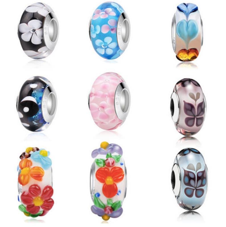 c8a3242ce Murano Glass Flower Bead Charms Fit Original Pandora Bracelet | Etsy