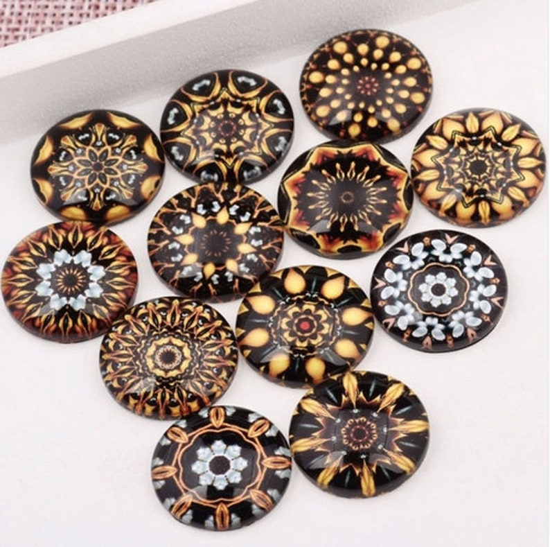 50pcs Mixed Round Gold Mandala Photo Glass Cabochon 10mm 12mm 14mm 16mm 18mm 20mm DIY Pendants Necklace Making Accessories