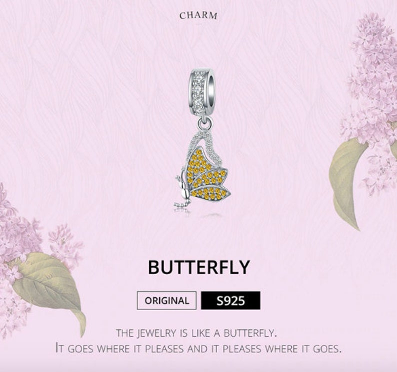 100/% Genuine 925 Sterling Silver Yellow Rhinestone Butterfly Charms Pendant fit Charm Bracelets Women Necklaces Silver Jewelry