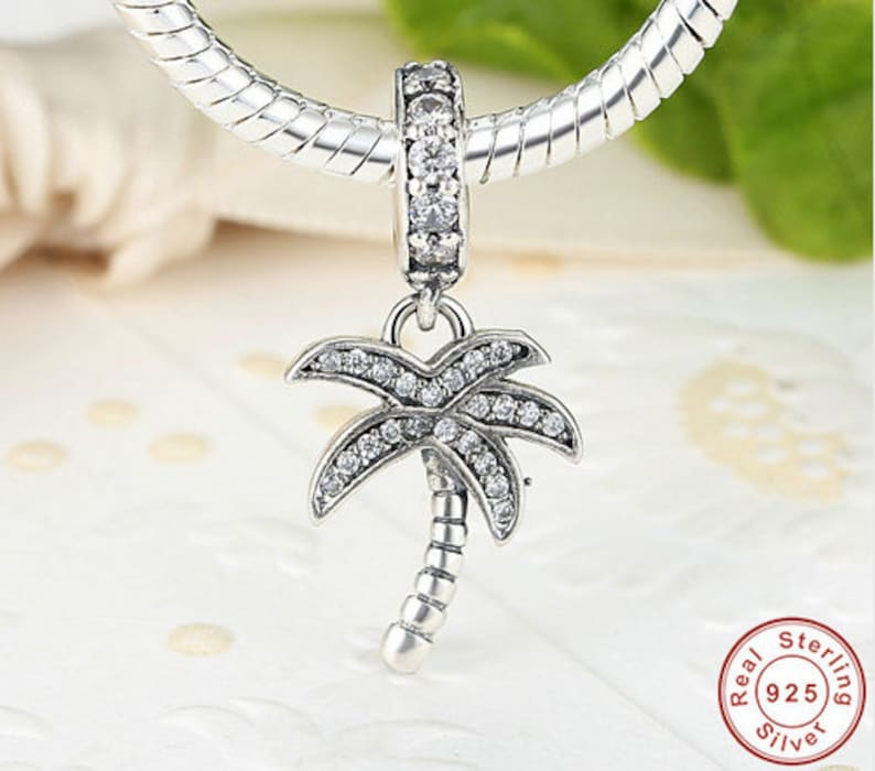 100/% Authentic 925 Sterling Silver Sparkling Clear CZ Palm Tree Dangle Charm Fit Bracelet Pendant Necklace Jewelry Making