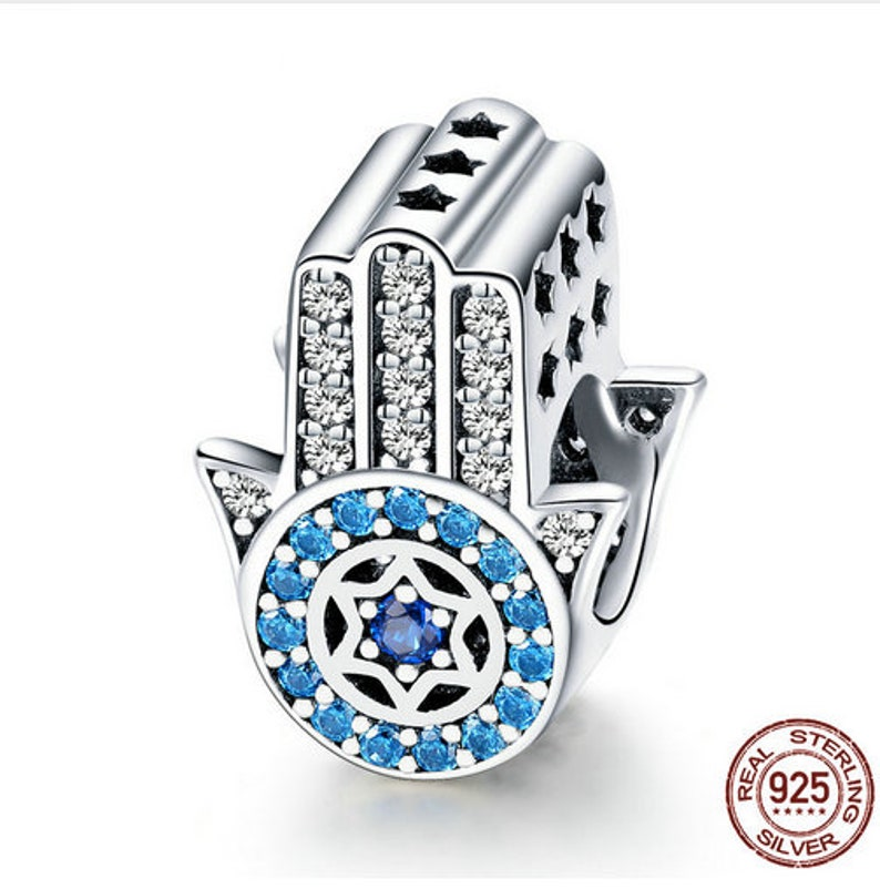 4679f6dfd9e96 100% Genuine 925 Sterling Silver Blue Trendy Lucky Element Fatima Hamsa  Hand Charm Beads fit Charm Bracelets & Bangles DIY Jewelry