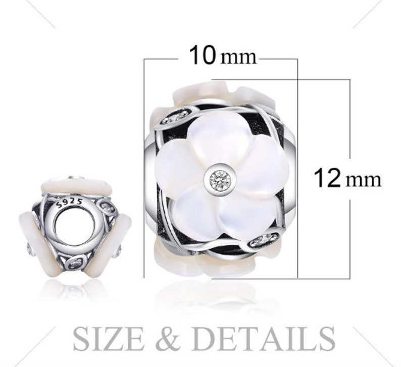100/% Genuine 925 Sterling Silver Pearl Flower White Murano Glass Bead Charm Fit Bracelets For Women Best Gifts