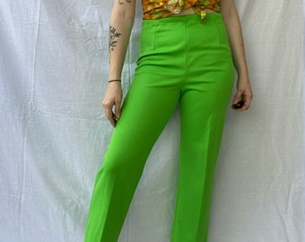 70s Forest Green High Waist Pants Extra Small Vintage Straight Leg Retro Trousers