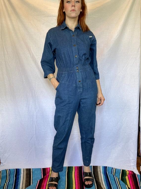 80's sz L DREAMS Pinstripe Blue Jean / Denim Half