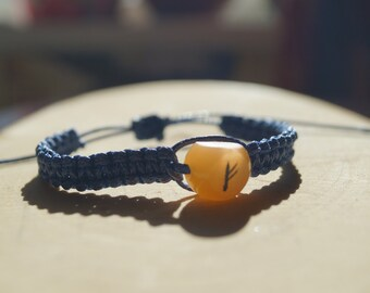 Runic Amulet Bracelet Fehu Selenite gemstone bracelet Futhark Talisman Luck Protection Viking  Rune Jewelry Reenactment Nordic Fehu Pagan