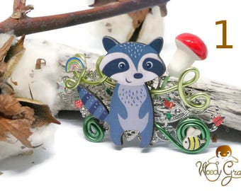 Barrette raccoon raccoon wooden light air Nature animal mushroom kawaii cute Original aluminum wire