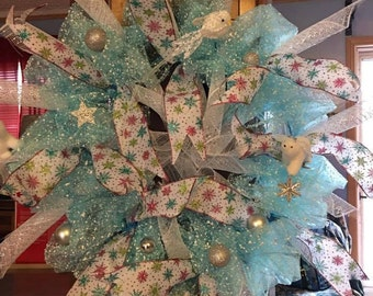 Baby Blue Snow Mesh With Angels and Ribbons