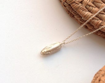 Sunflower Seed pendent on a Silver necklace Nature rocks Sterling silver 925 real silver