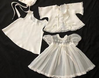 00fb1f2bb Vintage Infant Girl Baptismal Christening 4 Piece Set White Dress, Jacket,  Slip & Bonnet 3-6 Months