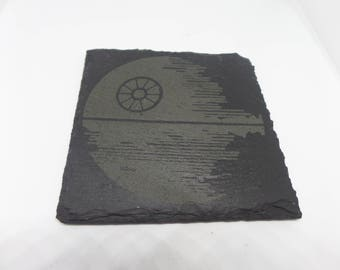 Slate coaster with Death Star design