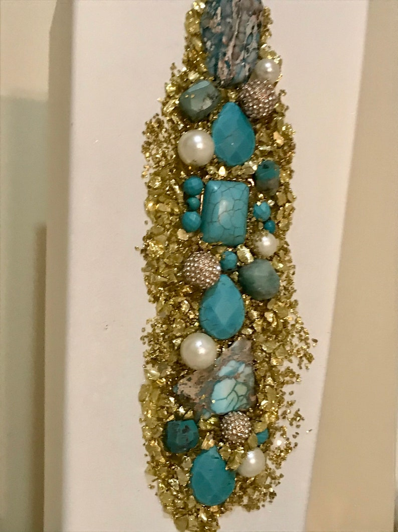 Bougie vase turquoise stones and diamondpearl beads Bling vase Abstract vase 10x5 glass vase with gold crushed glass Crushed glass vase