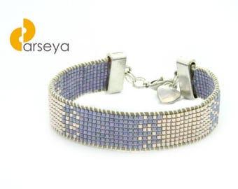 Bead loom bracelet, boho bracelet, seed bead bracelet, loom beaded bracelet with miyuki delicia beads, loom bracelet