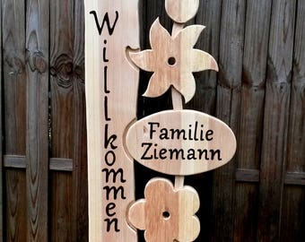 Welcome 10, 10 m stele family welcome greeting Gift Idea Letter Lettering Gift hand work Wooden