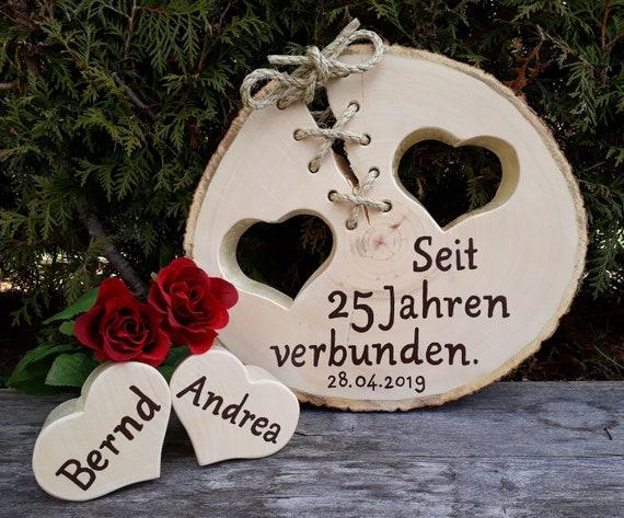 Silber Hochzeit Goldene Hochzeit Baumscheibe 2 Herzen Liebe Gastgeschenk Geschenkidee Holz Name Datum