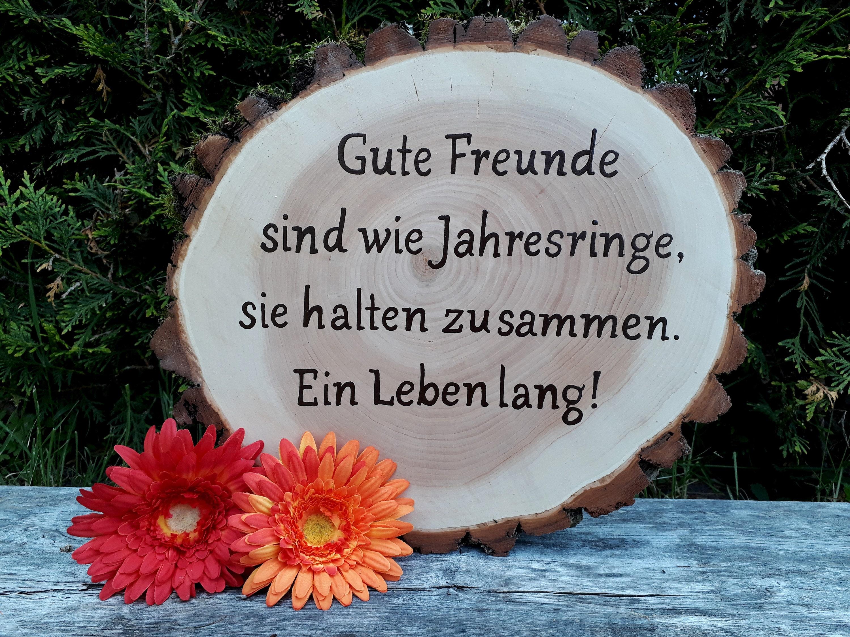 Baumscheibe Holzscheibe Freund Freundschaft Geschenk Idee Hochzeit Geburtstag