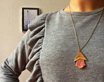 Necklace long triangle arrow Cork fringes mustard/salmon/blue-Galileo
