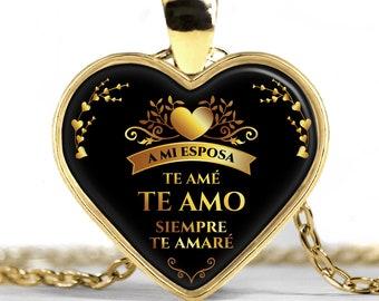 Dije de Corazón de Oro te Amo un Buen Regalo Aniversario para mi Esposa  Regalo para ella de Navidad 6b07ec1ee4e