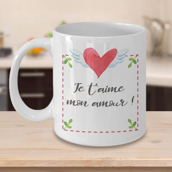 Je T Aime Print Tasse à Café Coeur Pour Fiancé Amour French Quote Romantic Mug