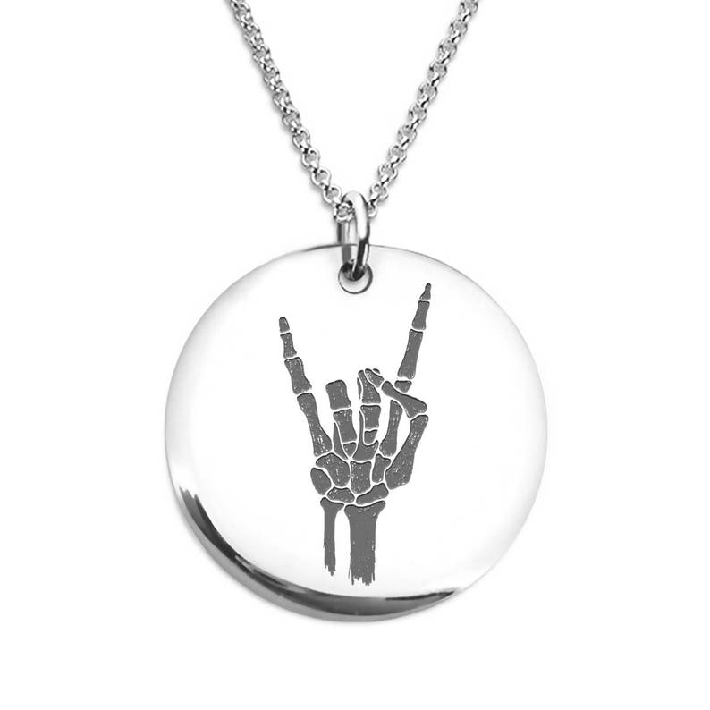 Skeleton Hand Rock on Necklace Stainless Steel or 18 K Gold Plated Laser Engraved Round Pendant