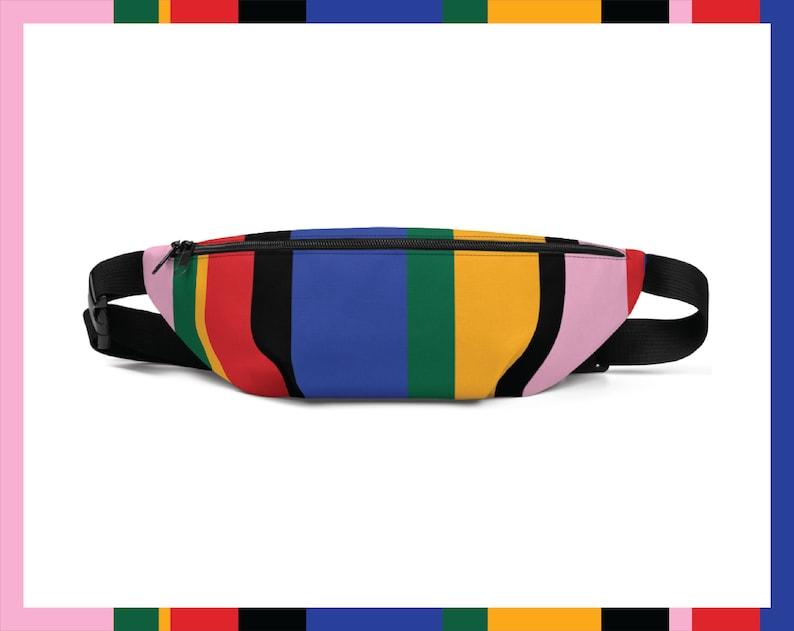 Colourful Stripes 90s Retro Aesthetic Trendy Unisex Fanny Pack