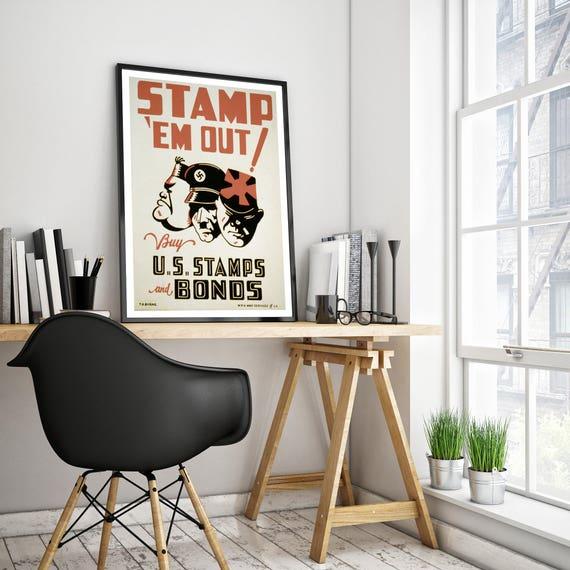 A38 Vintage//Retro STAMP EM OUT WW2//WW1 poster//print//wall art A4//A3 Re-print