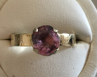 Pink Spinel and gold ring