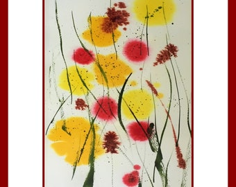 Unique original painting abstract flower meadow