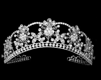 39c85cc68199 Dimensional Regal Bridal Tiara Marquise Crystal Flowers in Silver or Gold