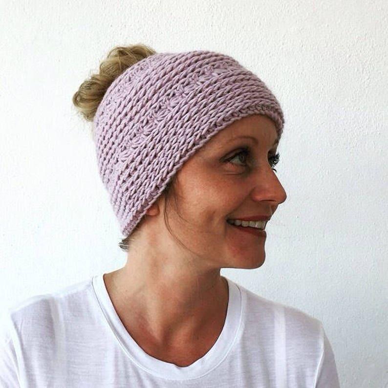 Crocheted Messy Bun HatPDF PATTERN image 0