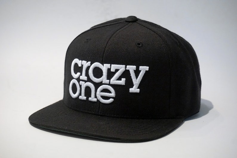 e63268ec Crazy One black snapback hat 3D white embroidery   Etsy