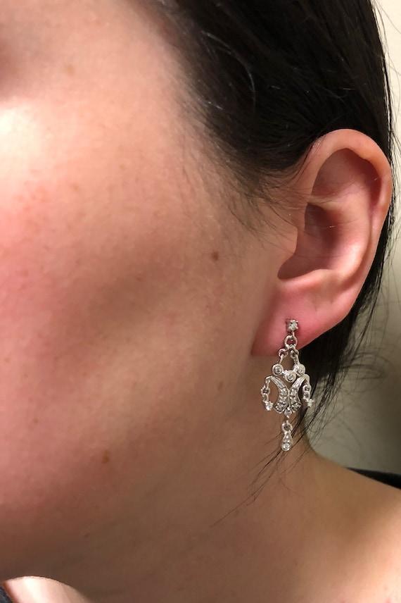Chandelier Style Diamond Earrings - image 2