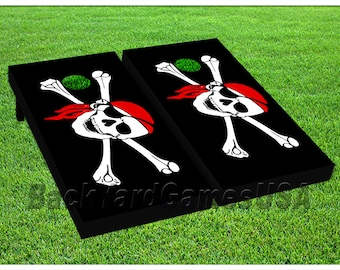new concept c7373 87ea7 VINYL WRAPS Cornhole Boards DECALS Pirate s Flag Bag Toss Game Stickers 719