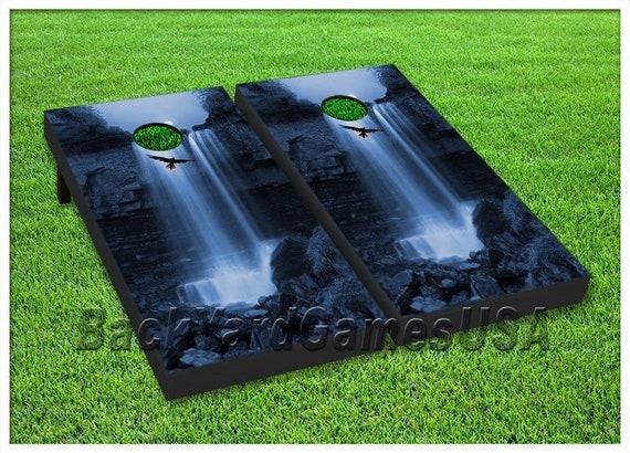 VINYL WRAPS Cornhole Boards DECALS Hawk Waterfall Bag Toss Game Stickers 153
