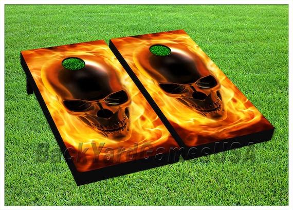 CORNHOLE BEANBAG TOSS GAME w Bags Game Board Fire Dragon Black Set 755