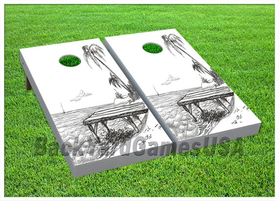 VINYL WRAPS Cornhole Boards DECALS Rock Cave Nature Bag Toss Game Stickers 151