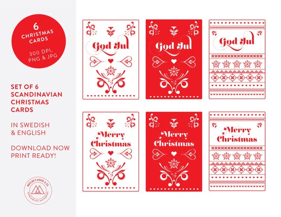 Christmas Cards To Print.Scandinavian Christmas Cards Print Your Own Holiday Cards Set Of Six Instant Download 300 Dpi Pdf File