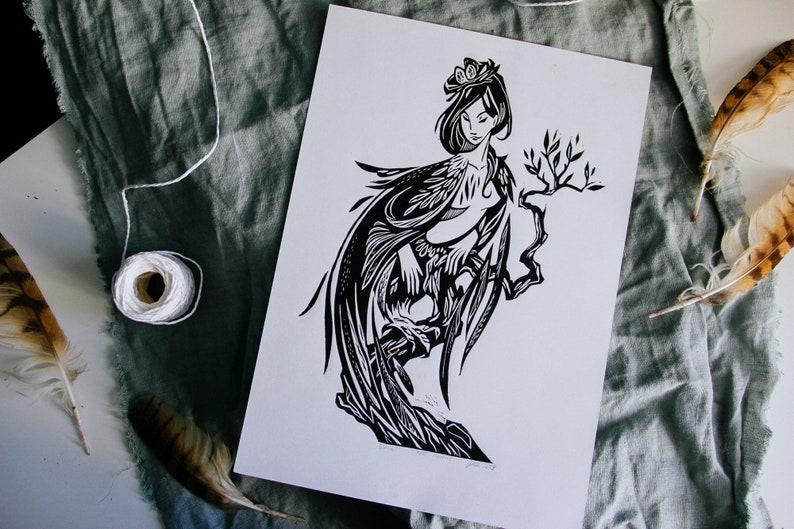 handprinted linocut wall poster SIRIN BIRD