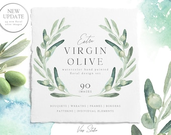Watercolor Floral Olive Clip art. Hand painted flowers, wedding invitations, design wreaths bouquets, DIY, individual PNG, branches, digital