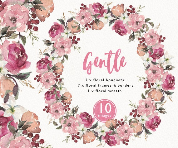Watercolor Floral Frame Bouquet Border Corner Wreath Set Clip Art Wedding Invitation Boho Flower Collection Individual PNG DIY Header From VerisStudio