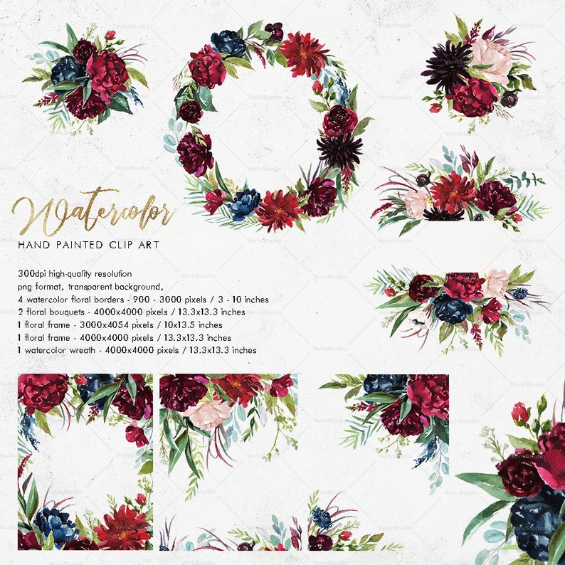 Watercolor Set Frames Wreaths Borders Bouquets Wedding Etsy