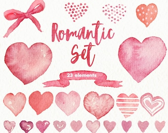 Watercolor hearts elements Romantic Set. Hand-painted, wedding design, invitations, cute, love, valentines day, card, greetings, clip art