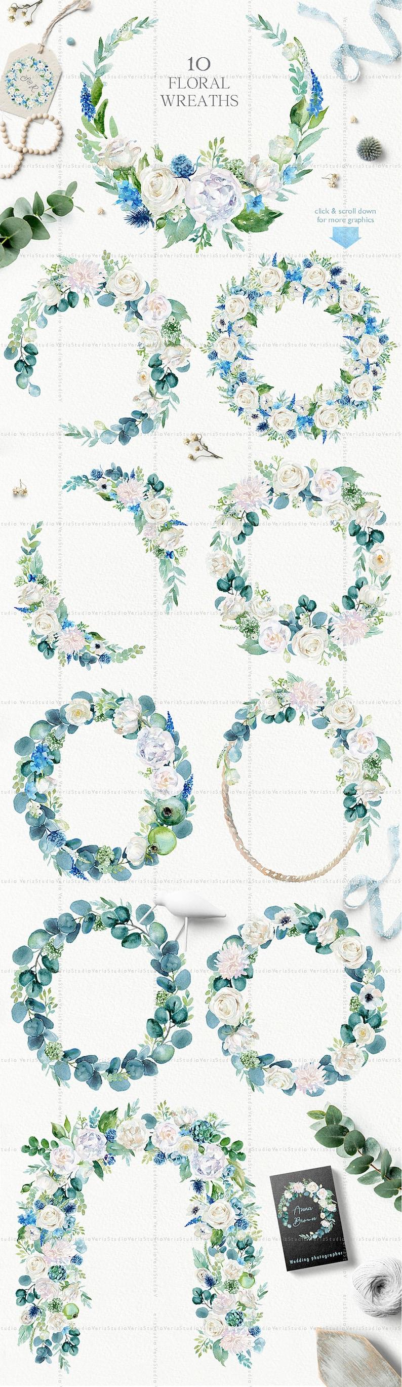 3a04fa9d36e9 Watercolor White Set frames wreaths bouquets elements clip