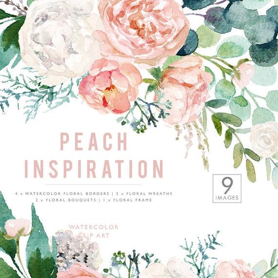 Watercolor Peach Flowers Frames Borders Wreaths Bouquets Etsy