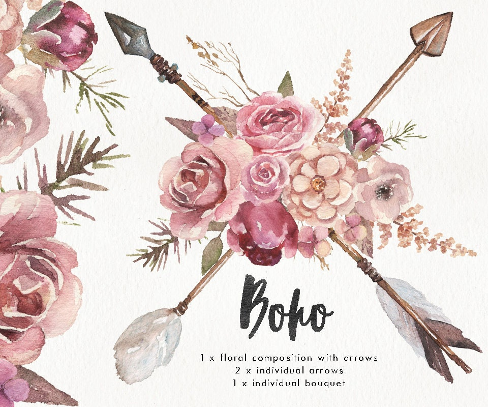 Watercolor Boho w/ arrows & flower bouquet. Wedding clipart