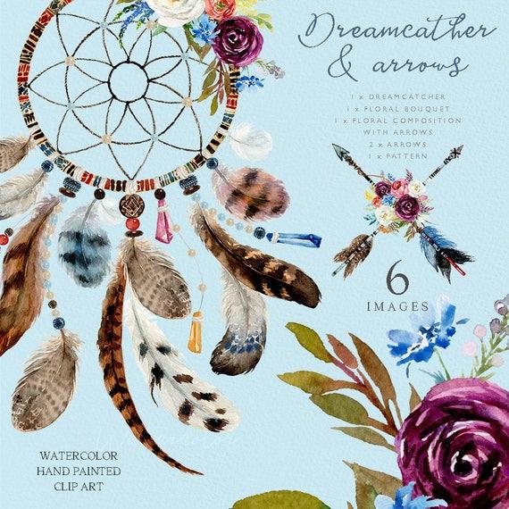 Watercolor Dream Catcher Boho Feather Flower Arrows Etsy Interesting Water Color Dream Catcher