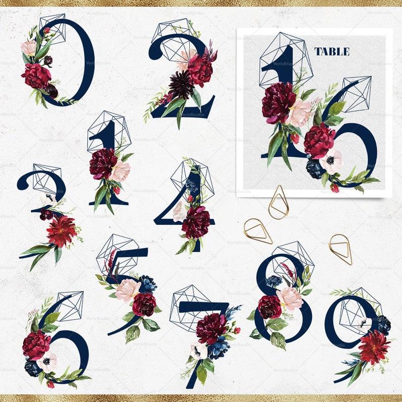 Navy Alphabet Ampersand Numbers Watercolor floral clip art geometric wedding invitation burgundy png vintage lettering symbols font monogram